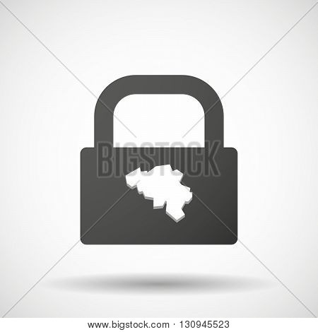 Isolated Lock Pad Icon With  The Map Of Belgium