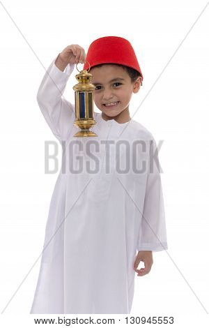 Happy Young Boy Holding Fanoos Celebrating Ramadan