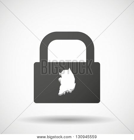 Isolated Lock Pad Icon With  The Map Of South Korea
