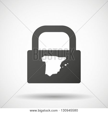Isolated Lock Pad Icon With  The Map Of  Spain