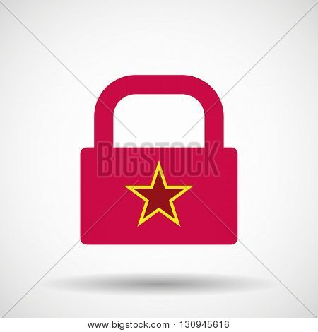 Isolated Lock Pad Icon With  The Red Star Of Communism Icon