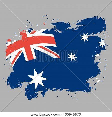 Australia Flag Grunge Style On Gray Background. Brush Strokes And Ink Splatter. National Symbol Of A