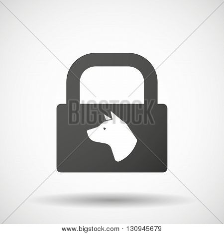 Isolated Lock Pad Icon With  A Dog Head