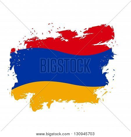 Armenia Flag Grunge Style On Gray Background. Brush Strokes And Ink Splatter. National Symbol Of Arm