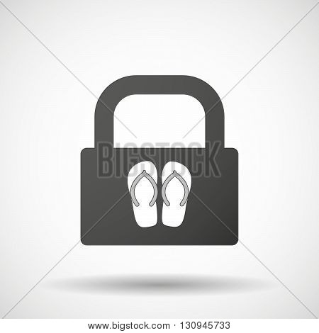 Isolated Lock Pad Icon With   A Pair Of Flops