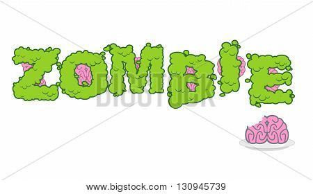 Zombie Text. Green Terrible Letter And Brains. Horror Lettering And Typography. Human Brain On Plate