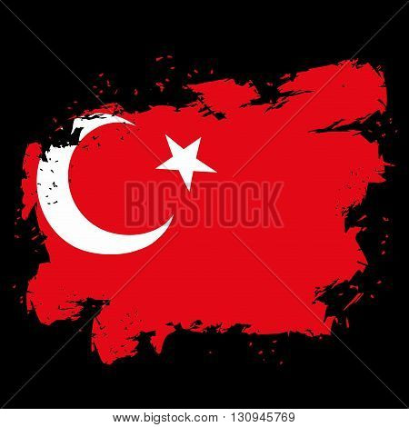 Turkey Flag Grunge Style On Black Background. Brush Strokes And Ink Splatter. National Symbol Of Tur