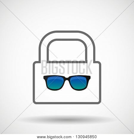 Isolated Lock Pad Icon With  A Sunglasses Icon