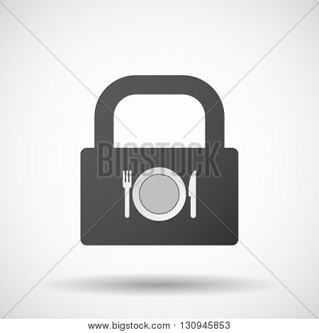 Isolated Lock Pad Icon With  A Dish, Knife And A Fork Icon