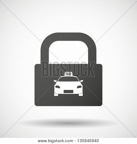 Isolated Lock Pad Icon With  A Taxi Icon
