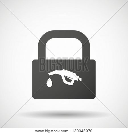 Isolated Lock Pad Icon With  A Gas Hose Icon