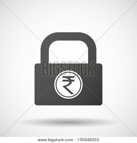 Isolated Lock Pad Icon With  A Rupee Coin Icon