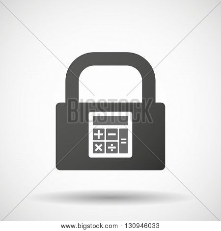 Isolated Lock Pad Icon With  A Calculator