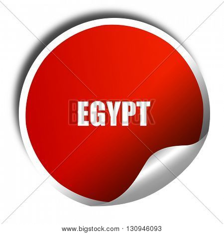 Greetings from egypt, 3D rendering, red sticker with white text