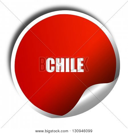 Greetings from chile, 3D rendering, red sticker with white text