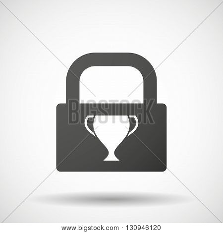 Isolated Lock Pad Icon With  An Award Cup