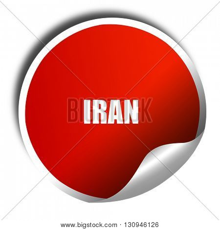 Greetings from iran, 3D rendering, red sticker with white text
