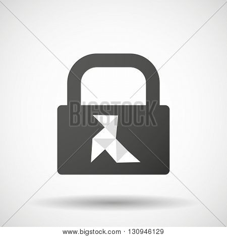 Isolated Lock Pad Icon With  A Paper Bird