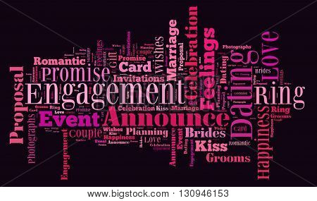 Engagement word cloud concept with a black background