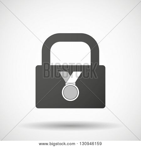 Isolated Lock Pad Icon With  A Medal