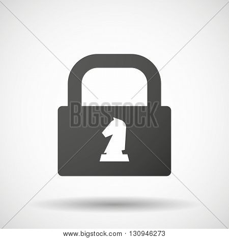 Isolated Lock Pad Icon With A  Knight   Chess Figure