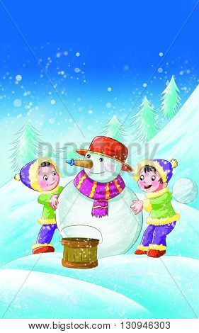 Snowman with Two kids Nursery Rhyme, Kids playing with Snowman