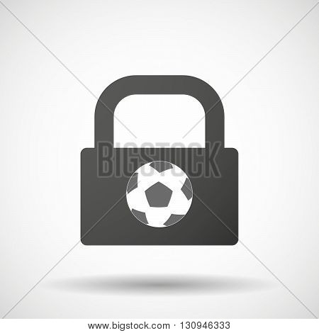 Isolated Lock Pad Icon With  A Soccer Ball
