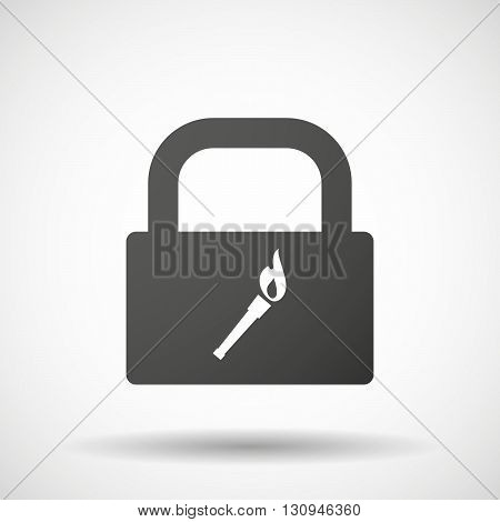 Isolated Lock Pad Icon With  A Torch Icon