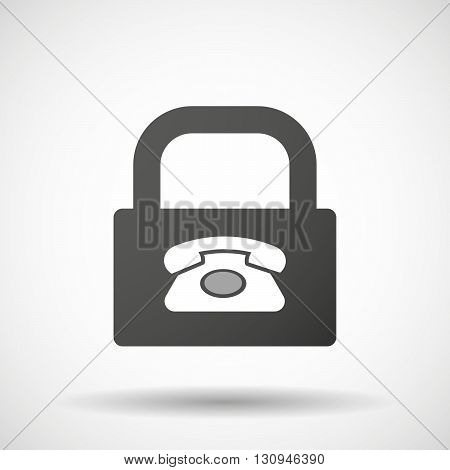 Isolated Lock Pad Icon With  A Retro Telephone Sign