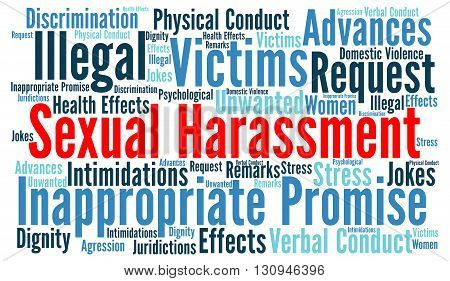 Sexual harassment word cloud concept with a white background