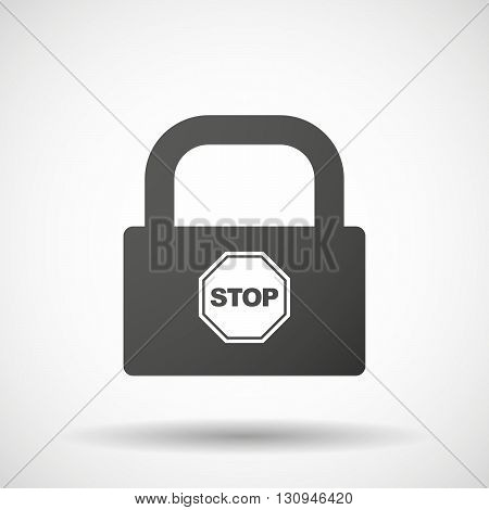 Isolated Lock Pad Icon With  A Stop Signal