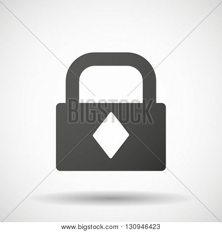 Isolated Lock Pad Icon With  The  Diamond  Poker Playing Card Sign