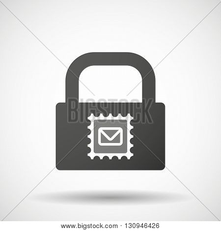 Isolated Lock Pad Icon With  A Mail Stamp Sign