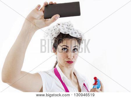 Pretty Housewife Take Selfie In A Break