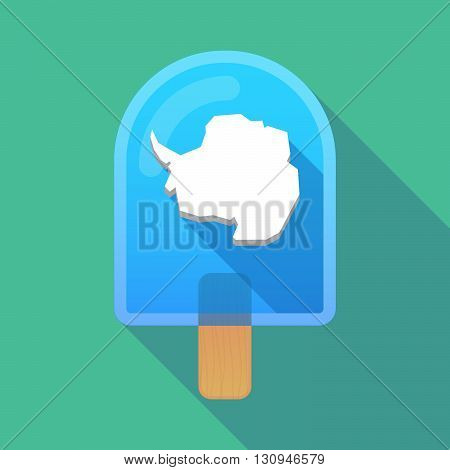 Long Shadow Ice Cream Icon With  The Map Of  Antarctica