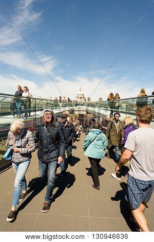 London Millennium Bridge And People Walking