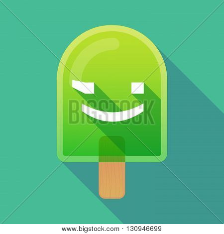 Long Shadow Ice Cream Icon With  A Wink Text Face Emoticon