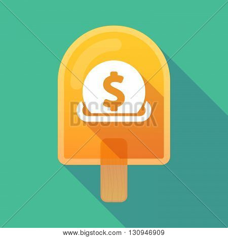 Long Shadow Ice Cream Icon With  A Dollar Coin Entering In A Moneybox