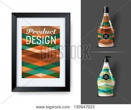 Mock-up template for branding and product designs. Isolated realistic bottles with poster and unique sample design. Easy to use for advertising branding and marketing.