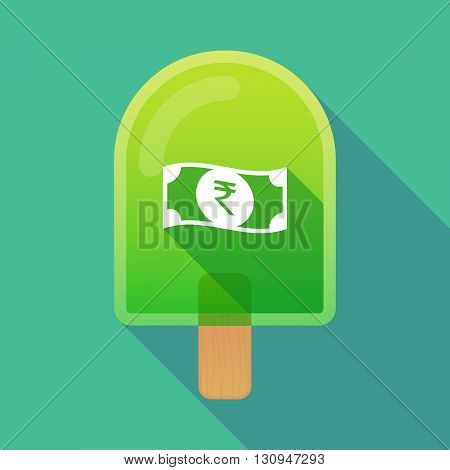 Long Shadow Ice Cream Icon With  A Rupee Bank Note Icon
