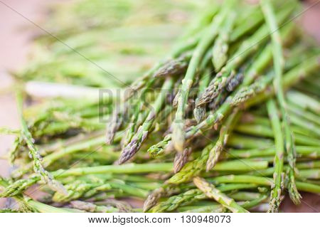 Bunch of fresh green asparagus vegetable selective focus