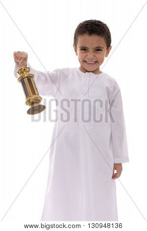 Happy Young Boy Celebrating Ramadan With Fanoos