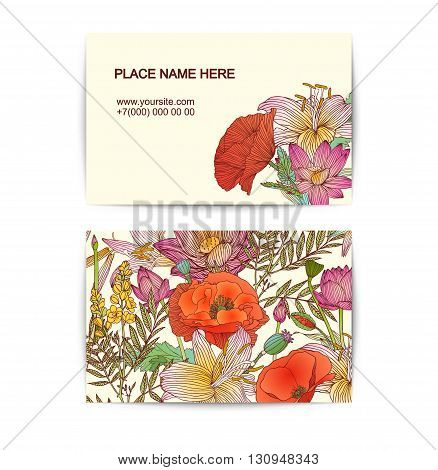 visiting card vector template with assorted flowers