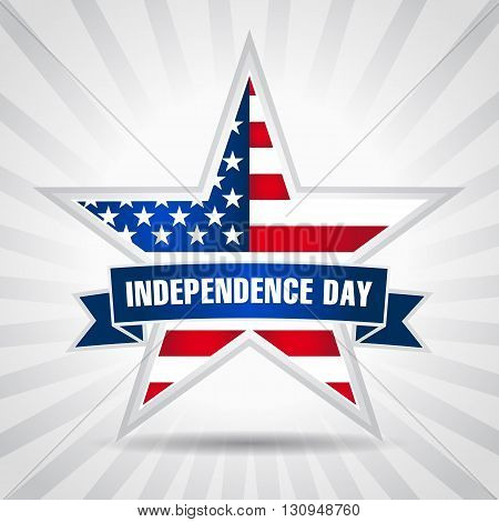 American Independence Day background with star in national flag colors. Independence day USA star ribbon. 4th of July
