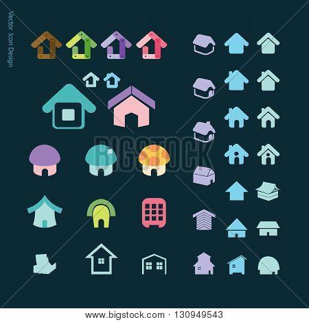 House icon set home vector website app