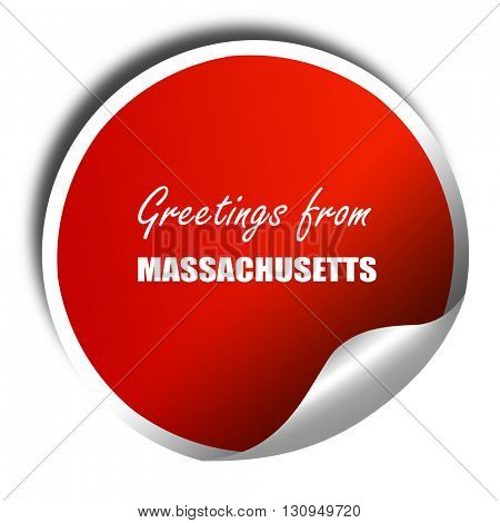 Greetings from masschusetts, 3D rendering, red sticker with whit