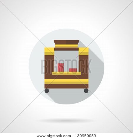 Brown trade trolley with red disposable cups. Selling hot drinks. Street market service. Delivery and sale of coffee, cocoa, cappuccino. Round flat color style vector icon.
