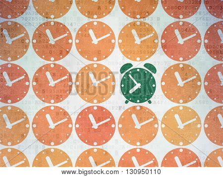 Timeline concept: rows of Painted orange clock icons around green alarm clock icon on Digital Data Paper background