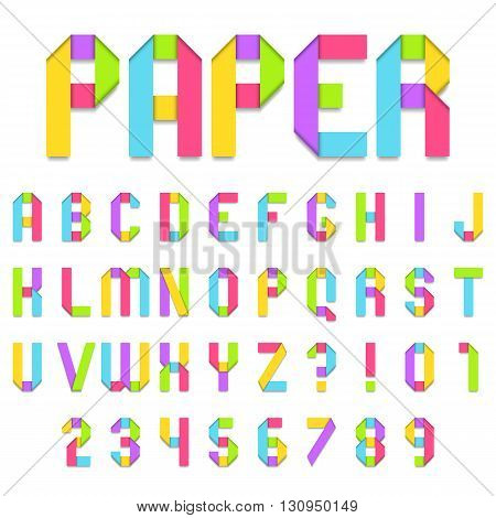 Folded color paper font. Full alphabet and numbers.