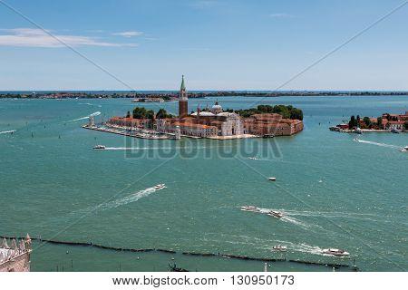 Aerial View Of San Giorgio Maggiore Isle In Venice, Italy